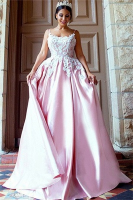 Open Back Appliques Prom Dresses Pink Spaghetti Strap Sexy Evening Dresses_1