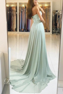 Chic Applique Sweetheart Prom Dresses Ribbons Sleeveless Sexy Evening Dresses_2