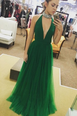 Chic Crystal Halter Prom Dresses Sheer Sleeveless Sexy Evening Dresses_2
