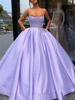 Chic Spaghetti Strap Applique Beads Prom Dresses Ruffles Ball Gown Sleeveless Sexy Evening Dresses with Pocket_2