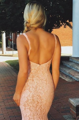Romactic Pink Lace Straps Prom Dresses Sleeveless Backless Mermaid Sexy Evening Dresses Cheap Dresses_3