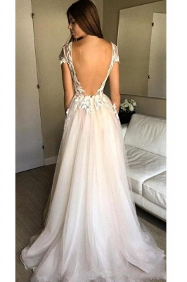 V-Neck Applique Prom Dresses Sheer Sleeveless Sexy Evening Dresses_2
