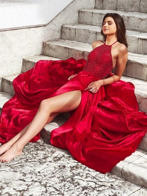 Chic Red Halter Sleeveless Prom Dresses Side Slit Sexy Evening Dresses with Beads_2