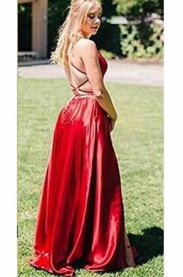 Chic Red Halter Lace-UpProm Dresses Sleeveless Sexy Evening Dresses with Pocket_2