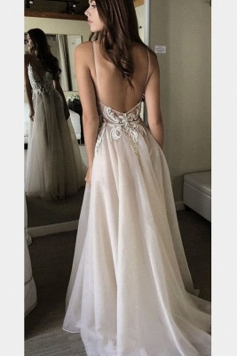Chic Applique Spaghetti-Strap Prom Dresses Backless Tulle Sleeveless Sexy Evening Dresses_2
