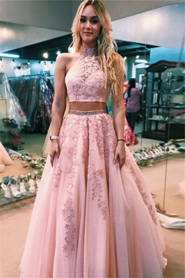 Chic Applique Halter Two Piece Prom Dresses Open Back Sleeveless Sexy Evening Dresses with Beads_1
