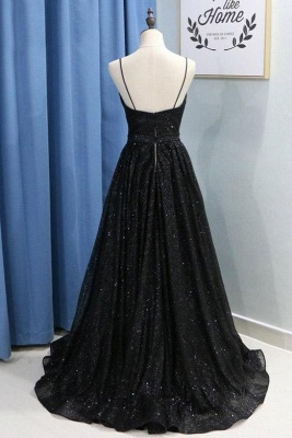 Spaghetti Strap Sequins Prom Dresses Sleeveless Side Slit Sexy Evening Dresses_2
