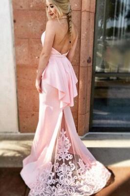 Ruffles Halter  Applique Prom Dresses Bowknot Mermaid Sleeveless Sexy Evening Dresses_2