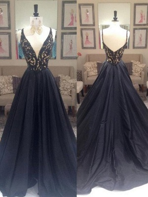 Black Lace V-Neck Sleeveless Prom Dresses Open Back Sexy Evening Dresses with Beads_4