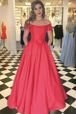Gorgeous Red Prom Dresses Bateau Off-the-Shoulder Sexy Evening Dress with Belt_1