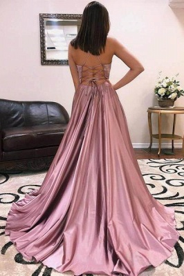 Charmeuse Halter Lace-Up Prom Dresses Side slit Sleeveless Sexy Evening Dresses_2