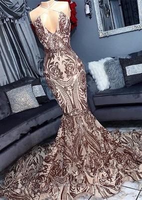 Halter Lace Mermaid Prom Dresses | Sleeveless V Neck Sequined Evening Dresses_3