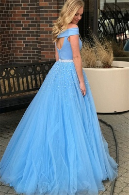 Chic Blue Off -the-Shoulder Keyhole Prom Dresses Two Piece Crystal Sexy Evening Dresses with Beads_2