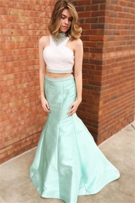 Chic Halter Crystal Mermaid Prom Dresses Two Piece Ruffles Sleeveless Sexy Evening Dresses_4
