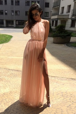 Chic Sheer Halter Ribbons Prom Dresses Side slit Overskirt Bowknot Sleeveless Sexy Evening Dresses_1