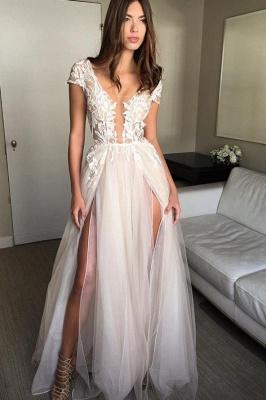 V-Neck Applique Prom Dresses Sheer Sleeveless Sexy Evening Dresses_4
