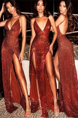 Spaghetti Strap Open Back Prom Dresses Sleeveless Side Slit Sexy Evening Dresses_1
