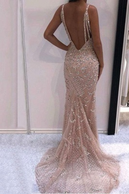 Chic Crystal Straps Applique Prom Dresses Cheap Mermaid Sleeveless Sexy Evening Dresses_2