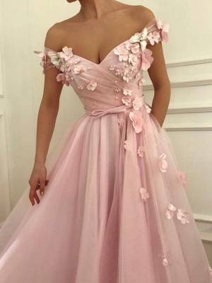 Pink Flower Off-the-Shoulder Prom Dresses Sleeveless Beads Sexy Evening Dresses with Belt_2