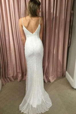 Chic Sequin Straps Applique Prom Dresses Tulle Mermaid Sleeveless Sexy Evening Dresses_3