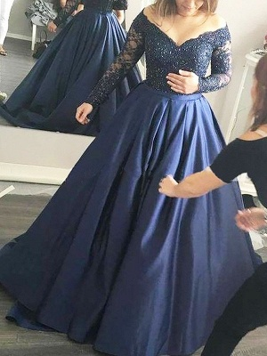 Applique Lace Off-the-Shoulder  Prom Dresses Plus Size Long Sleeves Sexy Evening Dresses Cheap_2