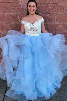 Gorgeous Applique Off-the-Shoulder Prom Dresses Two Piece Sheer Sleeveless Sexy Evening Dresses_2