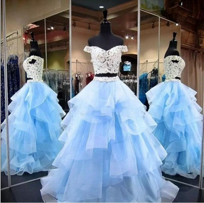 Gorgeous Applique Off-the-Shoulder Prom Dresses Two Piece Sheer Sleeveless Sexy Evening Dresses_3