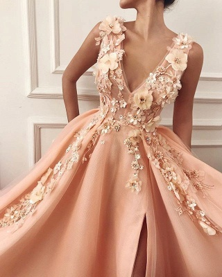 Straps V Neck Applique A Line Prom Dresses | Front Slit Sleeeveless Evening Dresses_2