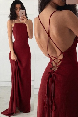 Lace-Up Halter Applique Prom Dresses Cheap Mermaid Sleeveless Sexy Evening Dresses_1