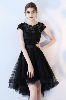 Black Bowknot Jewel Applique Homecoming Dresses HI-Lo Sheer Sleeveless Short Party Dresses