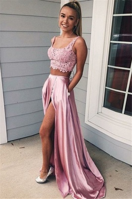 Pink Scoop Lace Up Two Piece Prom Dresses Sleeveless Side Slit Sexy Evening Dresses with Pocket_1