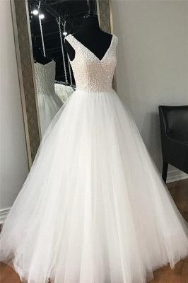 Chic Sheer Beads V-Neck Prom Dresses Simple Sleeveless Sexy Evening Dresses_1