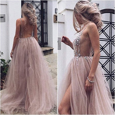 Pink V-Neck Applique Crystal Prom Dresses Sheer Side slit Backless Sleeveless Sexy Evening Dresses_2