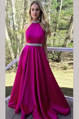 Crystal Halter Prom Dresses Ribbon Sleeveless Sexy Evening Dresses_1