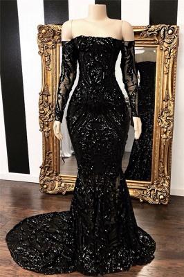 Long Sleeve Off The Shoulder Prom Dressses | Black Glitter Lace Sequined Evening Dresses