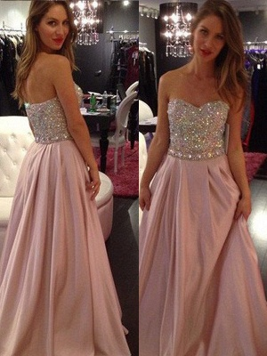 Sweetheart Crystal Prom Dresses Romactic Pink Sleeveless Sexy Evening Dresses_2