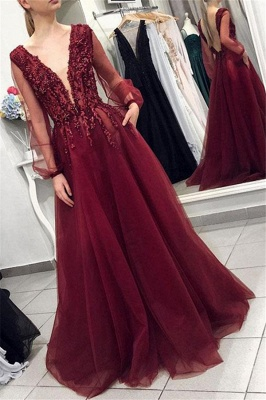 Burgundy V-Neck Long Sleeves Applique Prom Dresses Tulle Sexy Evening Dresses with Beads_1