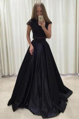 Applique Jewel Prom Dresses Two Piece Ruffles Sleeveless Sexy Evening Dresses_3