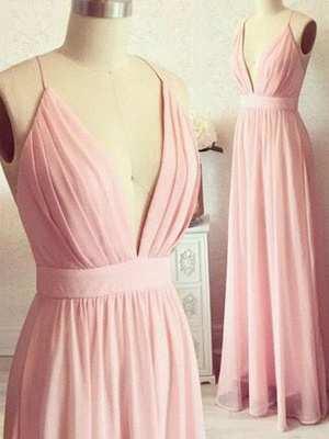 Romactic Pink Spaghetti Strap Ruffles Prom Dresses Sleeveless Sexy Evening Dresses with Belt_2