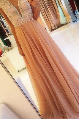 Chic Open Back Applique Prom Dresses Tulle Cheap Sexy Evening Dresses with Crystal_1