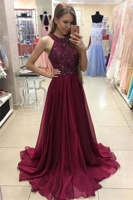 Crystal Jewel Prom Dresses Cheap Sheer Sleeveless Sexy Evening Dresses