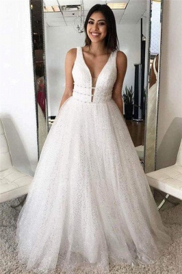 Gorgeous Sequins Straps Tulle Prom Dresses | Ball Gown Sleeveless Sexy Evening Dresses with Beads_2