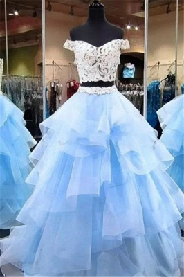 Gorgeous Applique Off-the-Shoulder Prom Dresses Two Piece Sheer Sleeveless Sexy Evening Dresses_1