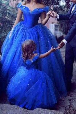 Gorgeous Off-the-Shoulder Flower Prom Dresses Sleeveless Tulle Ball Gown Sexy Evening Dresses wit Beads_2