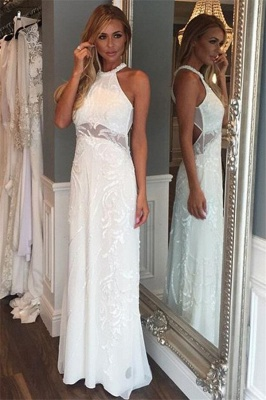 Chic Lace Halter Applique Prom Dresses Cheap Mermaid Sleeveless Sexy Evening Dresses_1