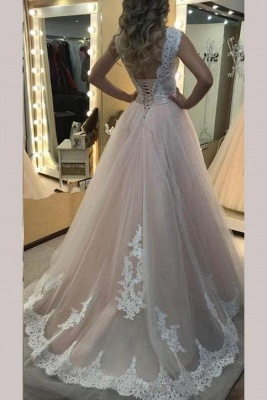 Glamorous Sheer Jewel Applique Prom Dresses Sleeveless Sexy Evening Dresses with Ribbon_2