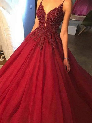 Gorgeous Spaghetti Strap Beads Prom Dresses Red Lace Ball Gown Sexy Evening Dresses_4
