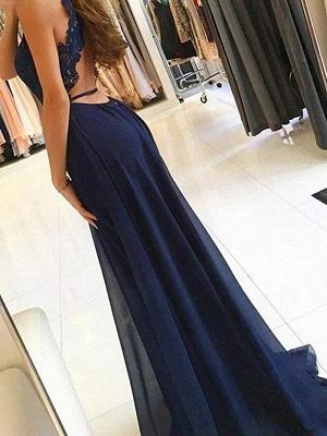 Lace Open Back Halter Applique Prom Dresses Keyhole Side Slit Sexy Evening Dresses_3