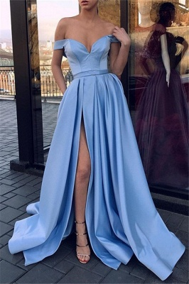 Chic Off-the-Shoulder Sleeveless Prom Dresses Side Slit Sexy Evening Dresses Cheap_3