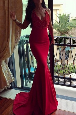 Red Halter Applique Sleeveless Prom Dresses Mermaid Sexy Evening Dresses with Beads_1